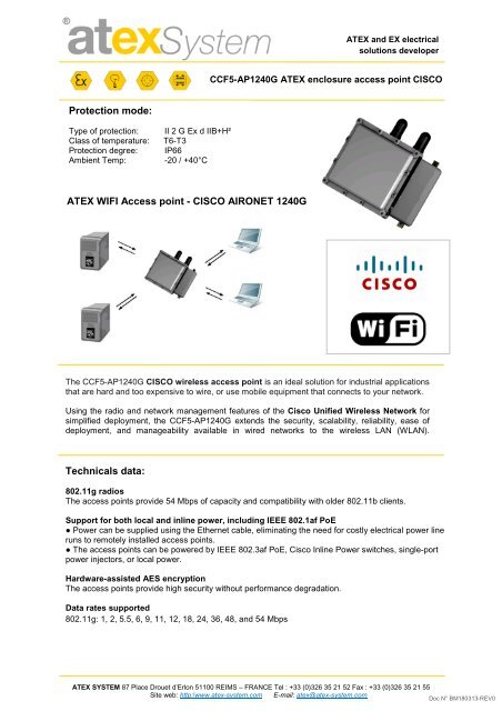 Protection mode: ATEX WIFI Access point - CISCO     - Atex