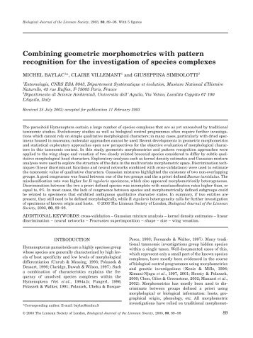 Combining geometric morphometrics with pattern recognition for the ...