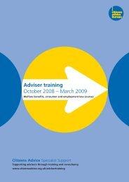 Adviser training October 2008 – March 2009 - Citizens Advice
