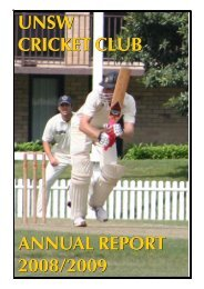 2008-09 - University of New South Wales Cricket Club