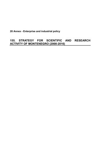 155. strategy for scientific and research activity of montenegro