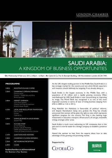SAUDI ARABIA: - London Chamber of Commerce and Industry