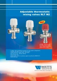 Adjustable thermostatic mixing valves RLT M2 - Watts Industries