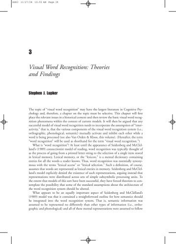 3 visual word recognition theories and findings psychology