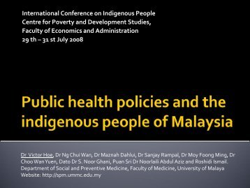 Public Health Policies and the Indigenous People of Malaysia
