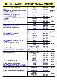KONSULTACJE - SEMESTR ZIMOWY 2012/2013