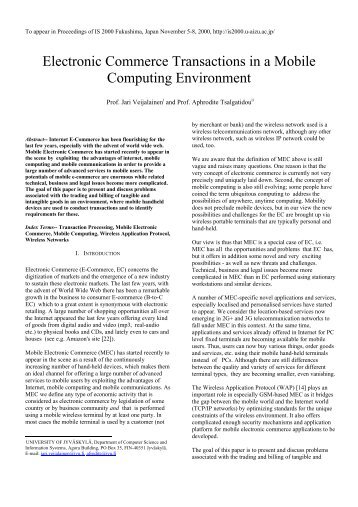 Electronic Commerce Transactions in a Mobile Computing ...