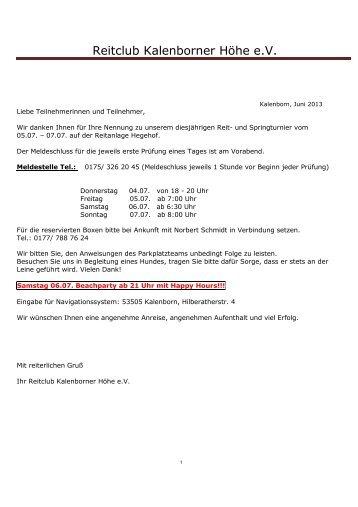 Zeiteinteilung - Reitanlage-hegehof.de