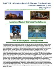 DAY TRIP – Cherokee Ranch & Olympic Training Center