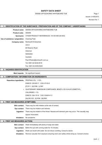 Download MSDS Document - Officeworks