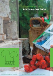 Pressemappe zum Jubiläumsfest 2009 - Waldkindergarten Mainz