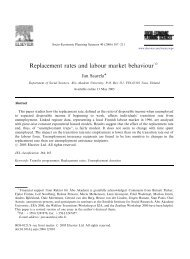 Replacement rates and labour market behaviour
