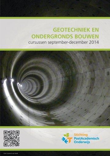 PAO Cursusoverzicht - najaar 2014 - Geotechniek en ondergronds bouwen - web