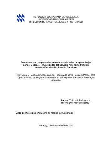 REPÚBLICA BOLIVARIANA DE VENEZUELA UNIVERSIDAD ...