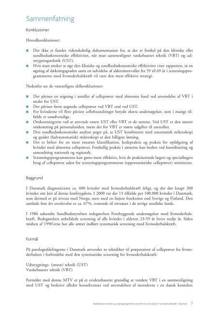 væskebaseret teknik og udstrygningsteknik anvendt til screening for ...