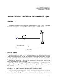 Statica di un sistema di corpi rigidi - Università degli studi di Bergamo