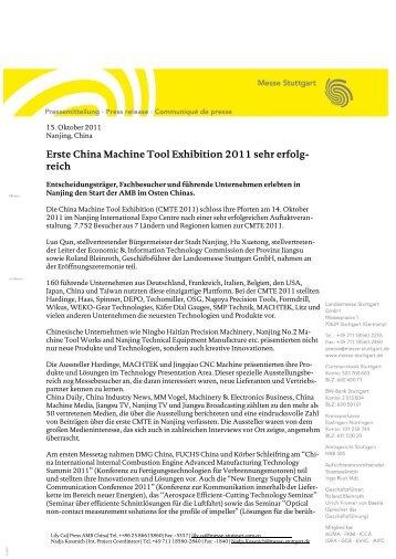 Erste China Machine Tool Exhibition 2011 sehr erfolg- reich
