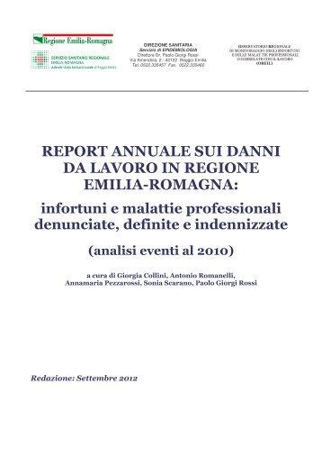report annuale sui danni da lavoro in regione emilia-romagna