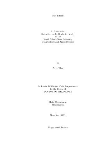 My Thesis A Dissertation Submitted to the Graduate Faculty of the ...
