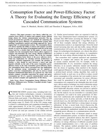 Consumption Factor and Power-Efficiency Factor: A Theory for ...
