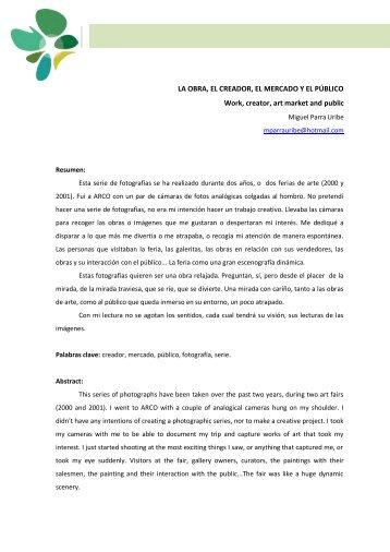 019 La obra, el creador, el mercado y el público. Miguel Parra Uribe