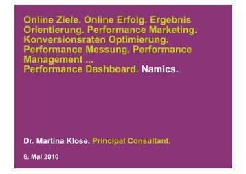 Online Ziele. Online Erfolg. Ergebnis Orientierung. Performance ...
