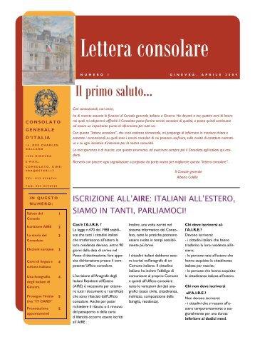 numero 1 - Consolato Generale d'Italia - Ministero degli Affari Esteri