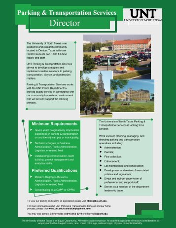 Director ,, - University of North Texas