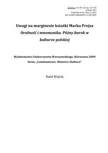 Uwagi na marginesie książki Marka Prejsa Oralność i mnemonika ...