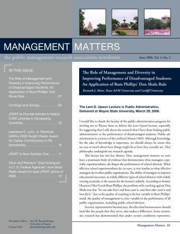 Management Matters - Public Management Research Association