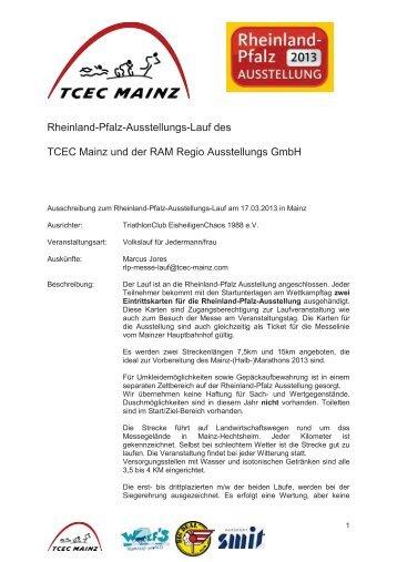 Rheinland-Pfalz-Ausstellungs-Lauf des TCEC Mainz und der RAM ...