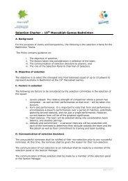 Selection Charter – 19th Maccabiah Games ... - Maccabi Australia