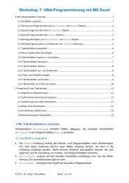 Workshop 7: VBA-Programmierung mit MS Excel - Dr. Volker ...