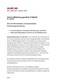 Ad-hoc-Mitteilung gemäß § 15 WpHG - Alno