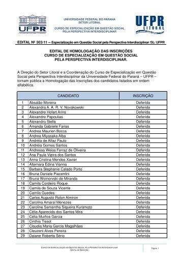 Veja lista dos candidatos - UFPR Litoral - Universidade Federal do ...