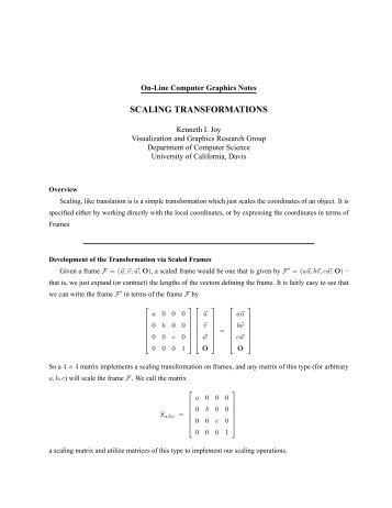 scaling transformations - IDAV - University of California, Davis
