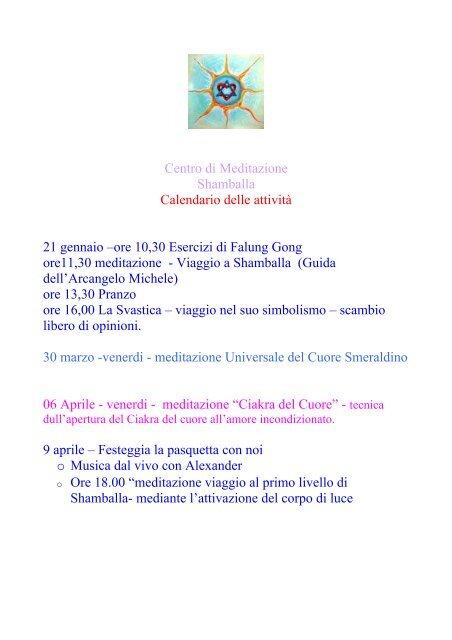 Calendario Tibetano.Centro Di Meditazione Shamballa Calendario Delle Il