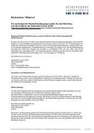 Rücknahme / Widerruf - Seibersdorf Laboratories
