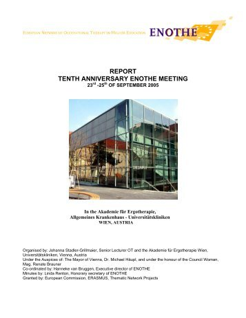REPORT TENTH ANNIVERSARY ENOTHE MEETING