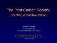 The Post Carbon Society: Creating a Positive Vision - Presidential ...