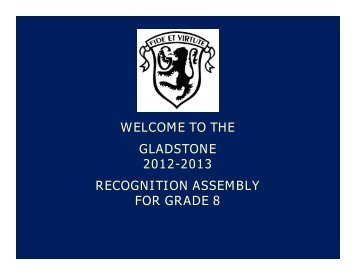 the gladstone 2012-2013 recognition assembly for grade 8