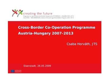 Cross-Border Co-Operation Programme Austria-Hungary 2007 ...
