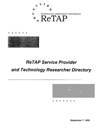 ReTAP Service Provider and Technology ... - P2 InfoHouse