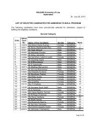 List of Selected and Waitlist of candidates - NALSAR University of Law