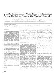 Quality Improvement Guidelines for Recording Patient Radiation ...