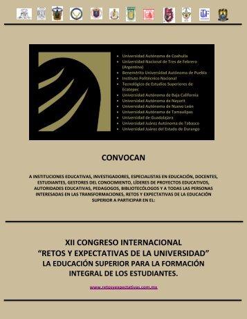 """convocan xii congreso internacional """"retos y expectativas de la ..."""