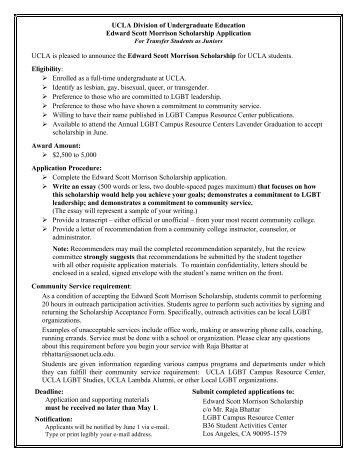 Edward Scott Morrison Scholarship - Division of Undergraduate ...