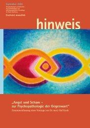"""hinweis """"Angst und Scham - zur Psychopathologie der Gegenwart"""""""