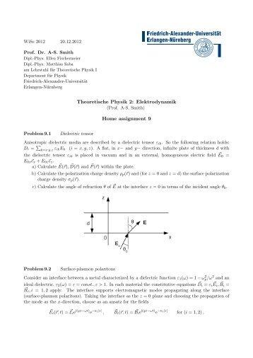 Theoretische Physik 2: Elektrodynamik Home assignment 9