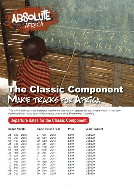 Classic Safari, the Component - pre departure pack - Absolute Africa